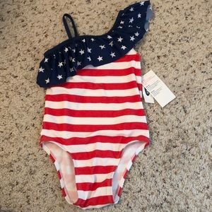 NWT Old Navy 5T swimsuit American Flag print girl